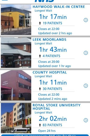 Screenshot of the wait times app by University Hospitals of North Midlands