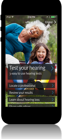 Black smart phone with an image of the hearing test app