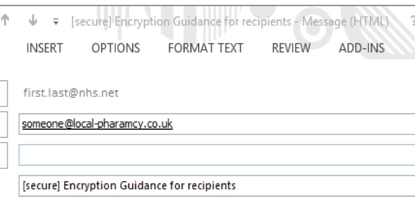 Screenshot of NHSmail secure email