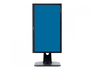 A portrait monitor with a stand and blue screen