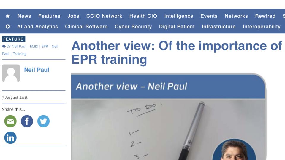 Online training tool needed for EPRs