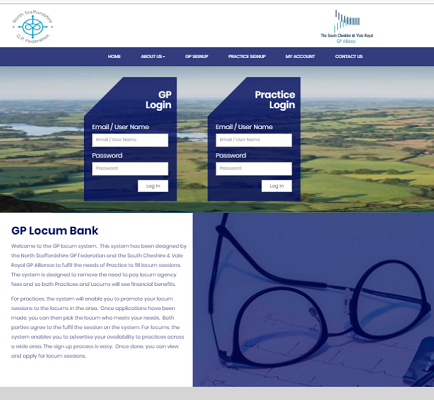 Screenshot of the GP Locum Platform website.