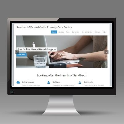 Screenshot of Ashfields Primary Care Centre on a desktop monitor