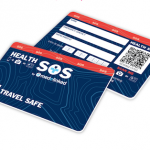 Blue travel safe card showing both sides