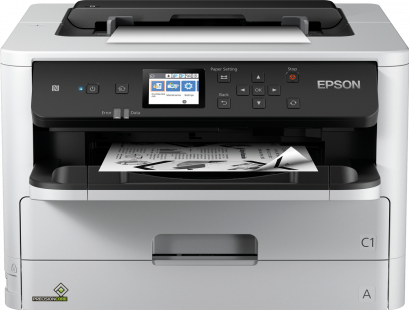 Epson printer with a piece of printing in the tray