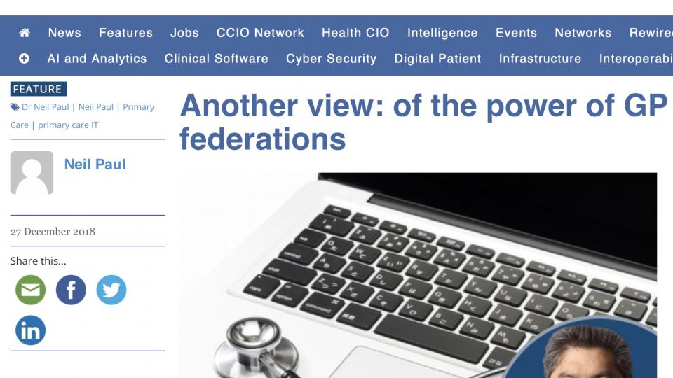 The Power of GP Federations – My latest digitalhealth.net blog