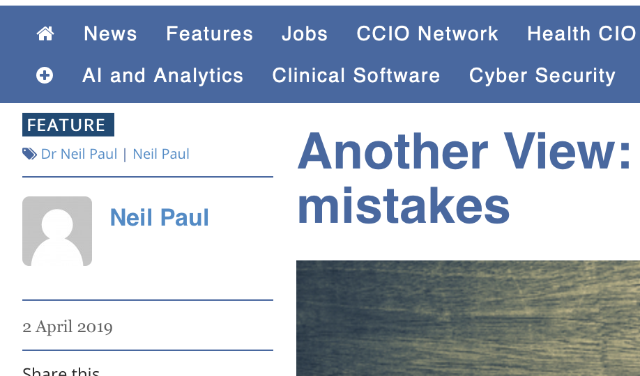 Learning from our mistakes –  April's Column for Digitalhealth.net
