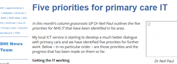 Five Priorities for Primary Care IT