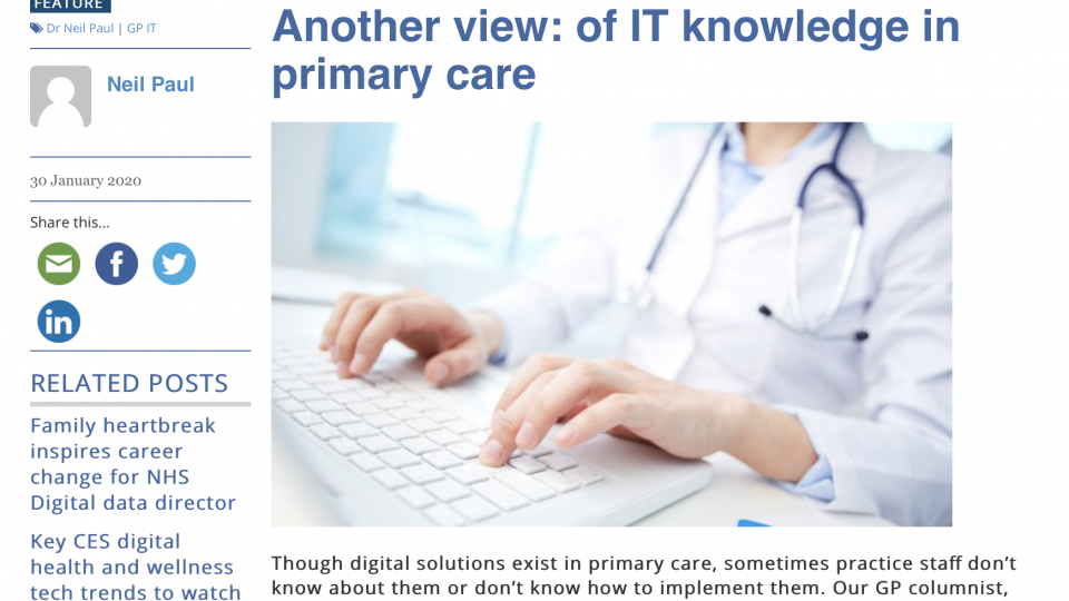 Of IT knowledge in primary care