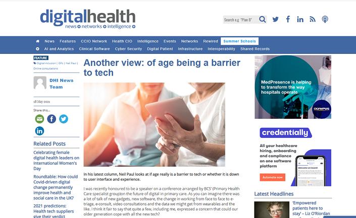 Screenshot of Digital Health column